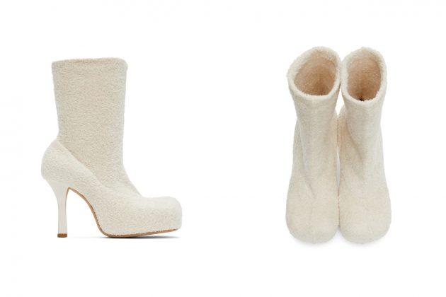 bottega veneta bold boots knit furry pink white fall winter 2020