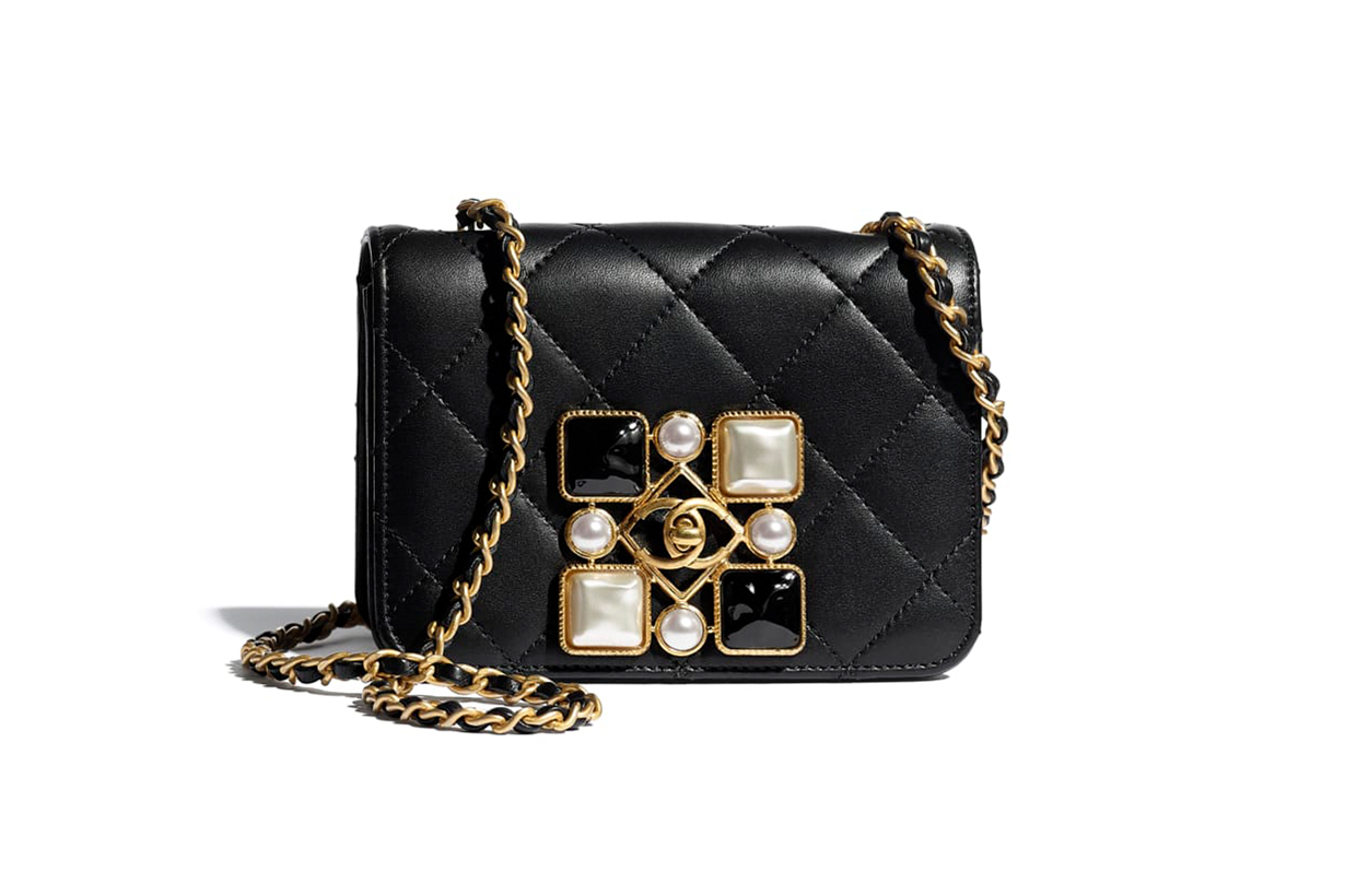 Chanel Calfskin Bag with Crystal Pearls and Resin