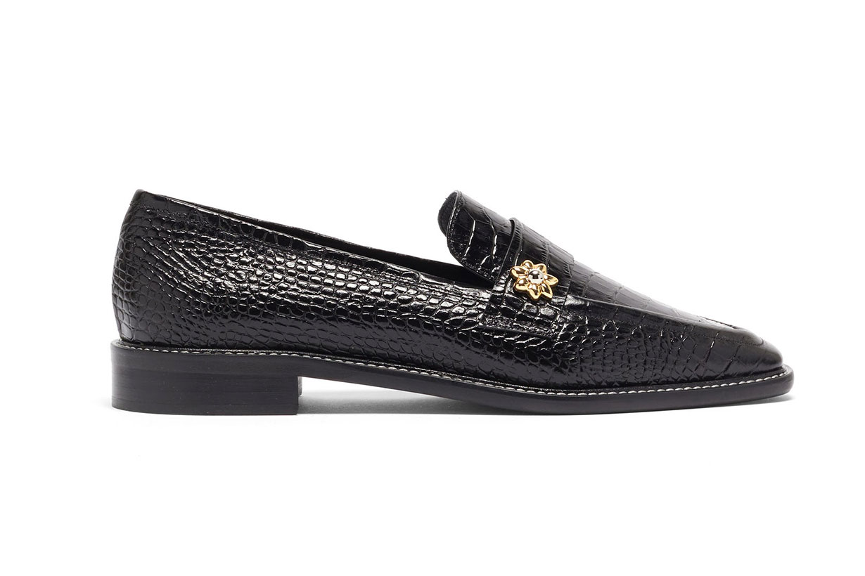 Forever crocodile-effect leather loafers