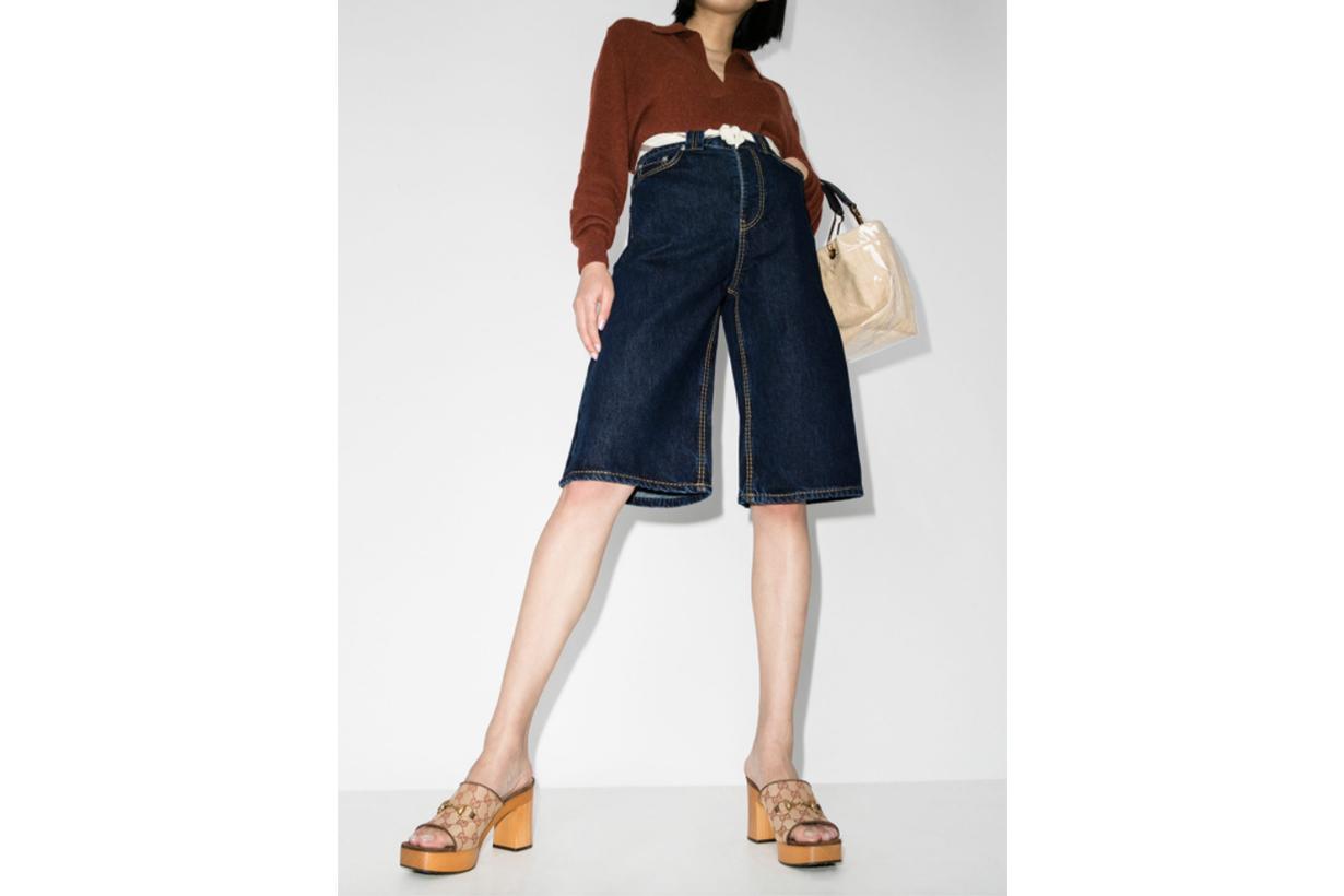 GANNI Heavy Stitch Long Denim Shorts
