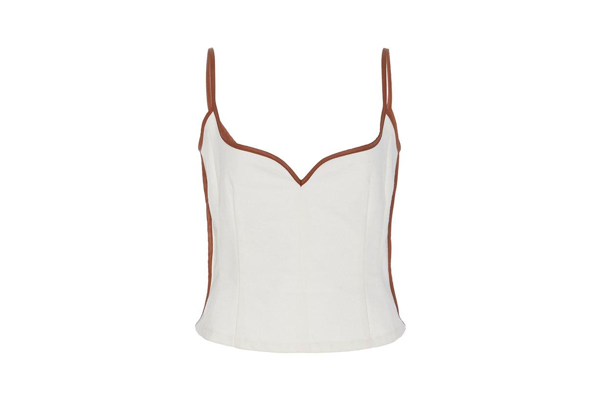 Heart Leather-Trimmed Cotton Tank Top