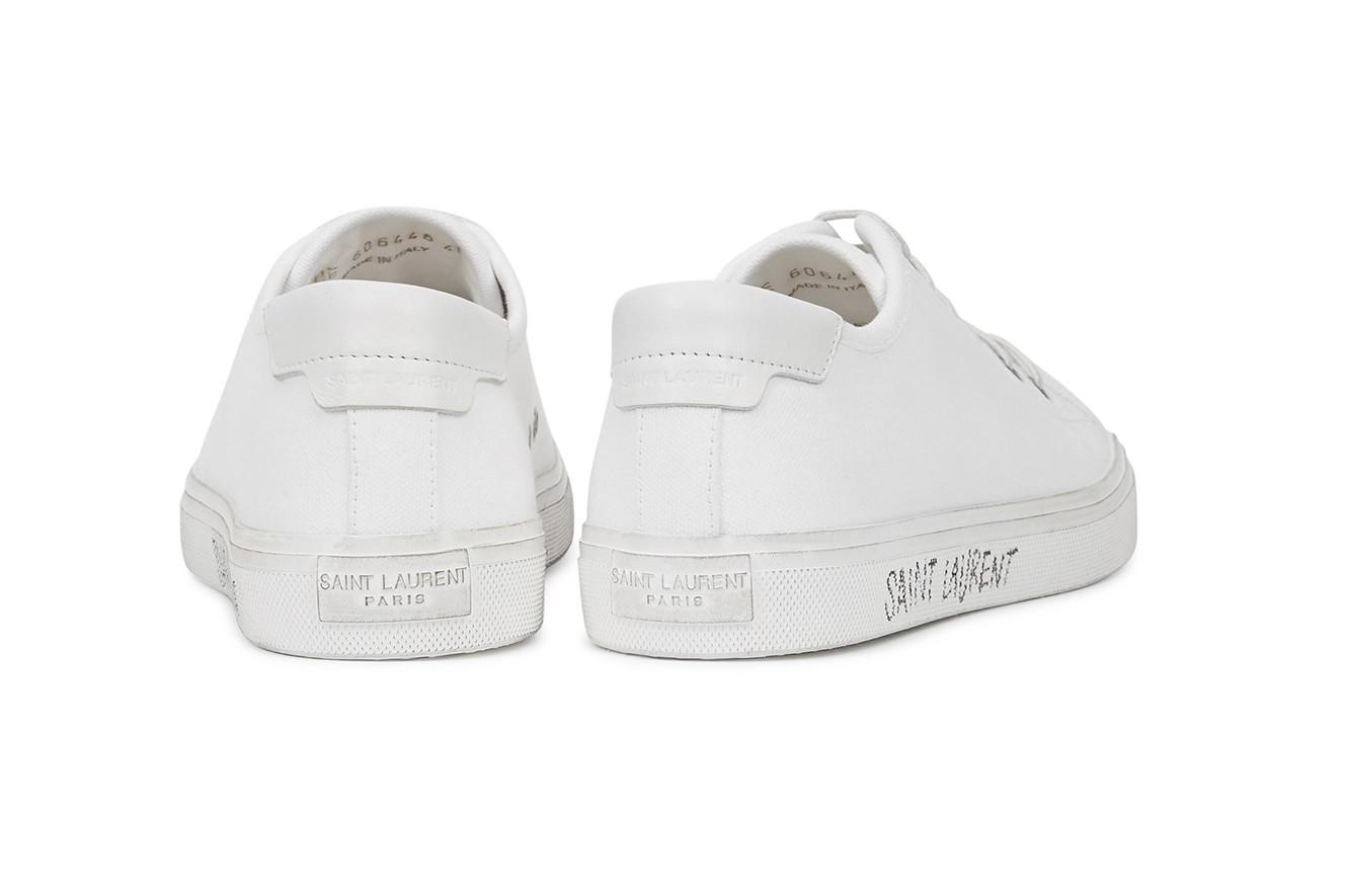saint laurent malibu white canvas sneakers minimal luxury handwritten logo shoes