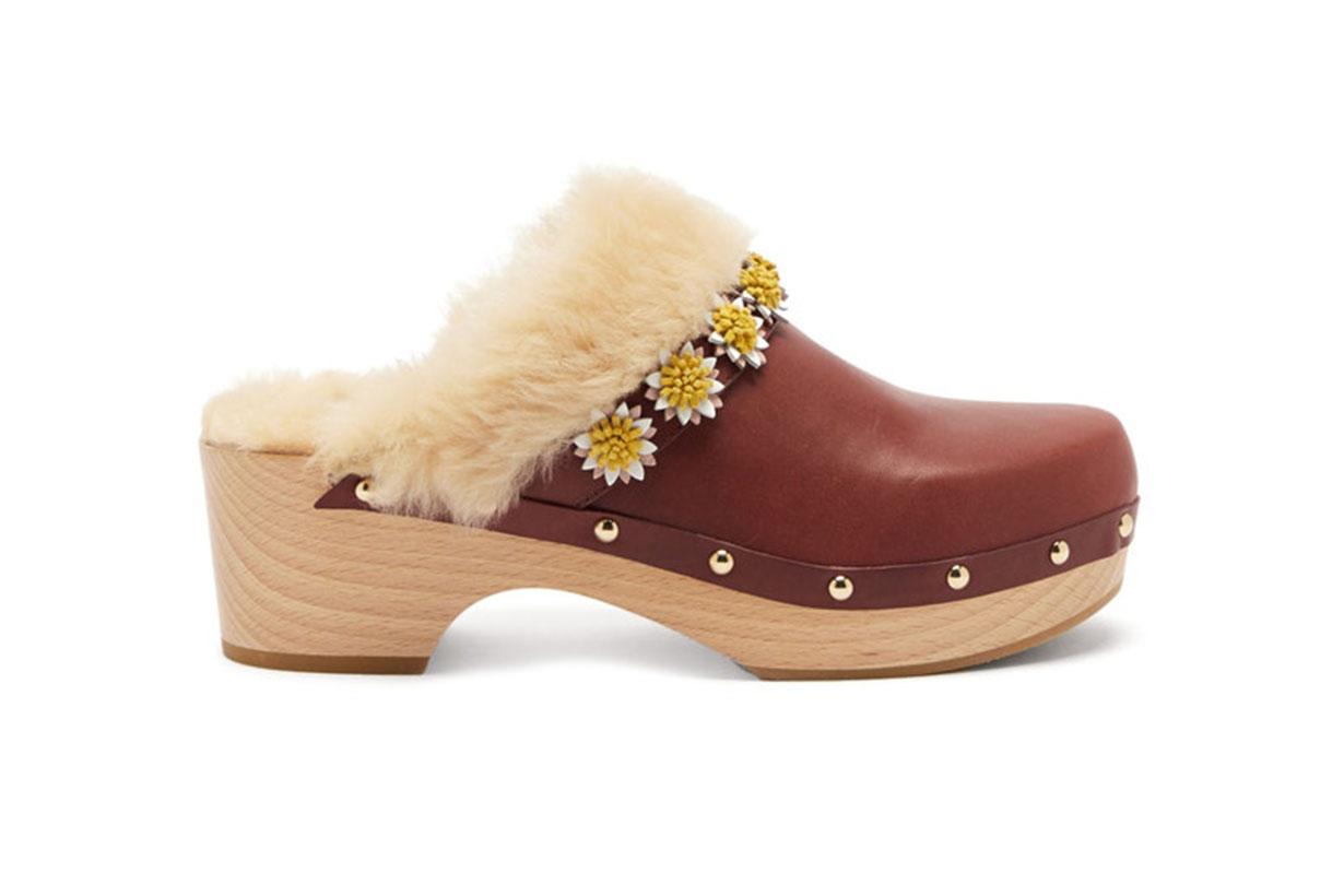 Jean floral-appliqué leather clogs