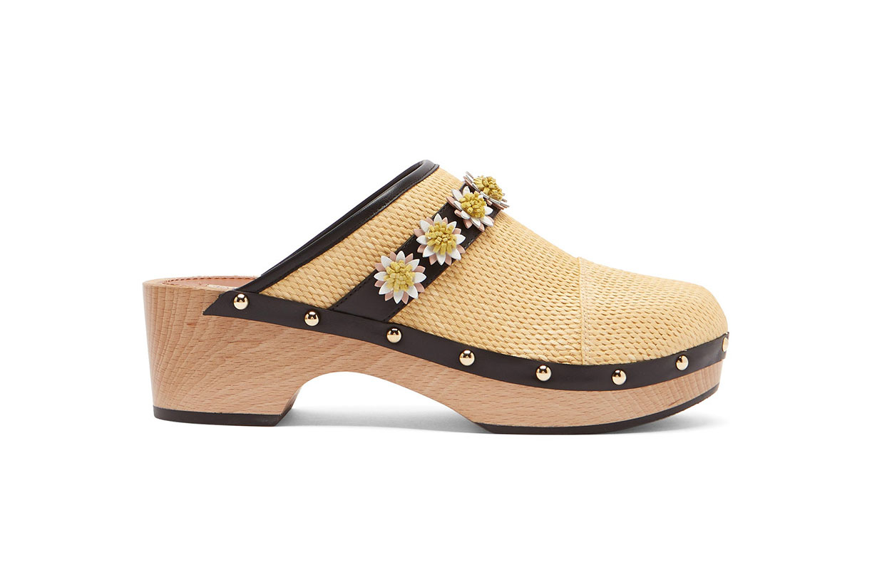 Jean floral appliqué leather clogs