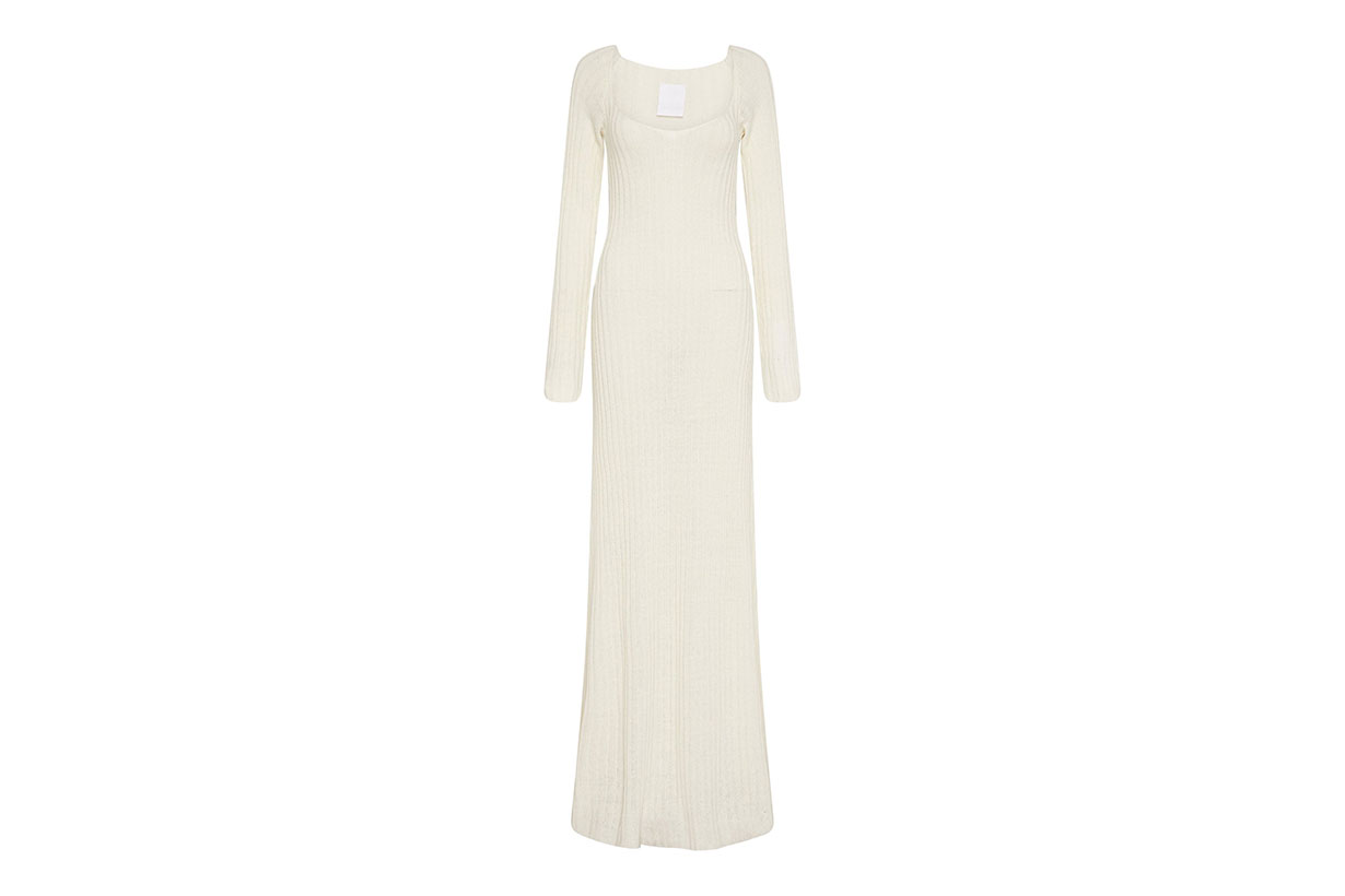 Linen Knit Long Sleeve Maxi Dress