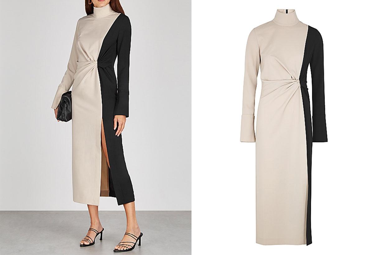Morie colour-blocked midi dress