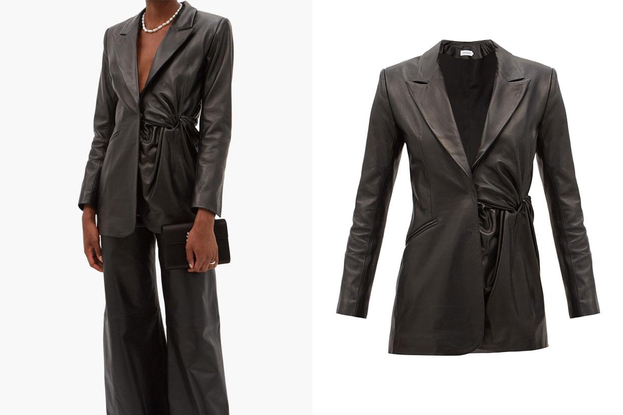 Moriyo gathered-leather suit jacket