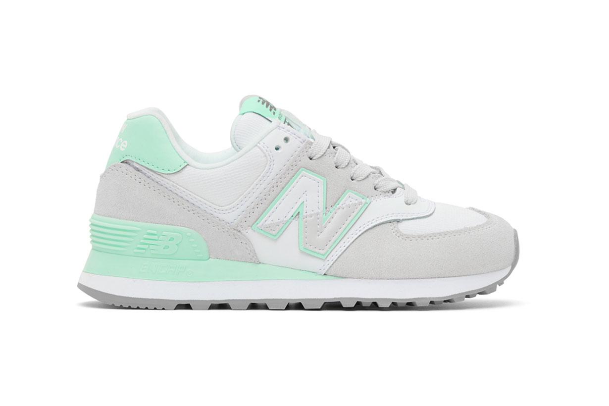 New Balance Grey & Green 574 Sneakers