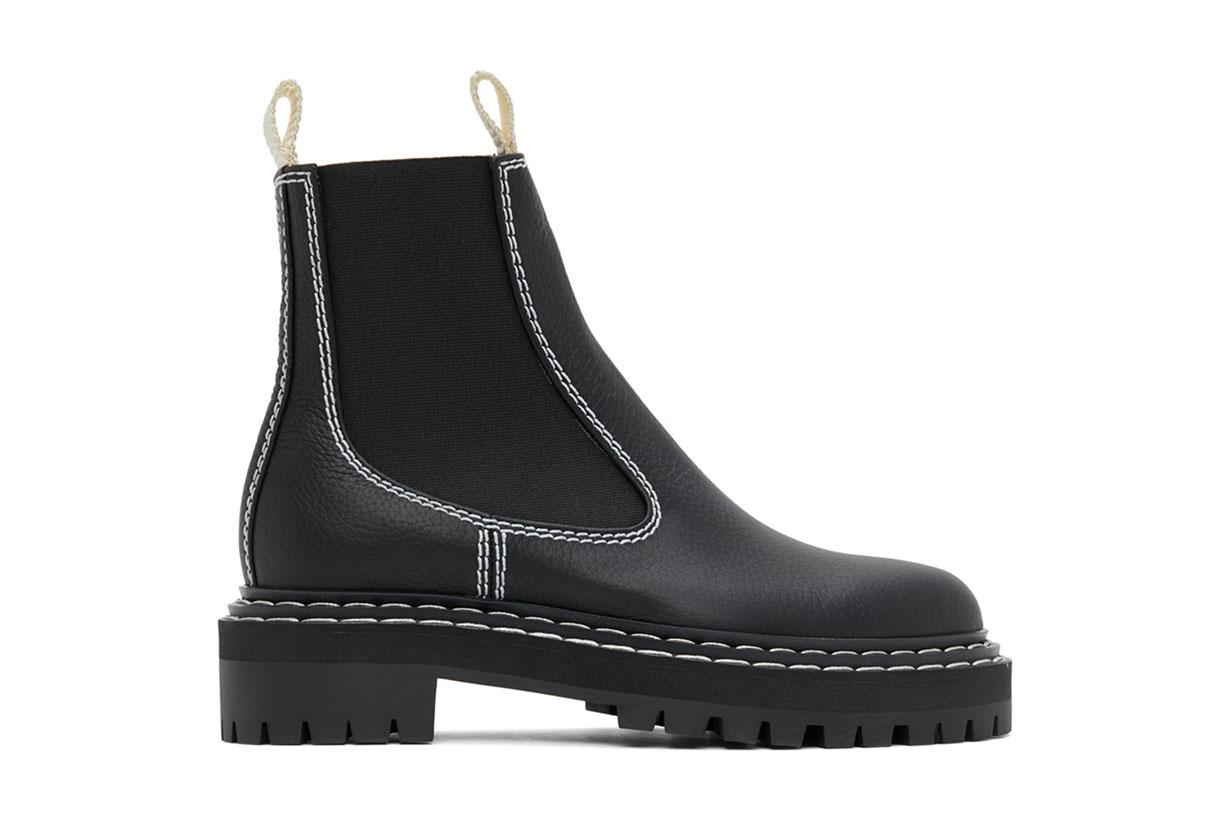 Proenza Schouler Black Leather Chelsea Boots