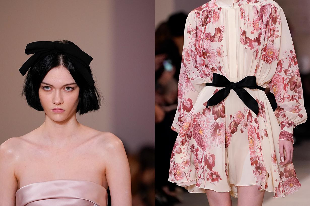 2020 Fall Winter fashion trends Black Ribbon fashion design runway Tom Ford Ciao Lucia Richard Quinn Lug Von Siga Brock Collection Giambattista Valli Chanel