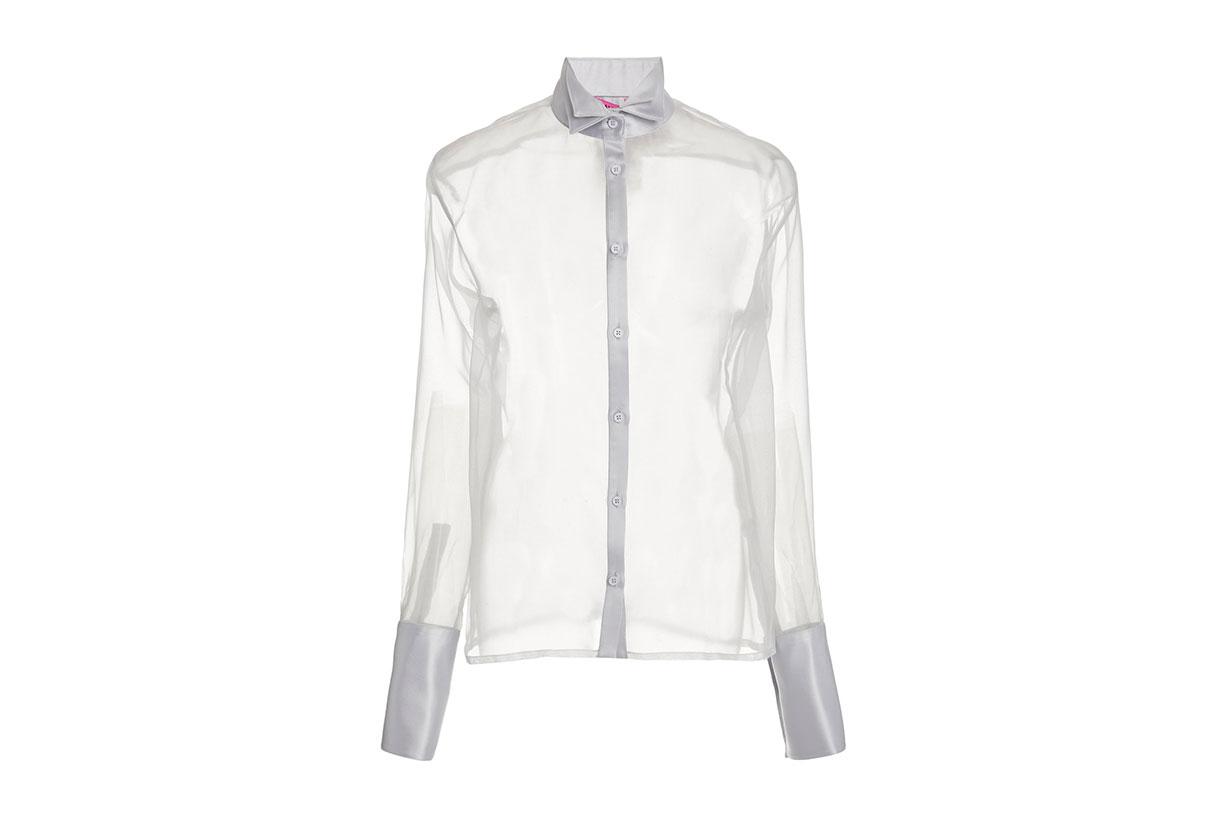 Rio Silk Organza Tuxedo Shirt
