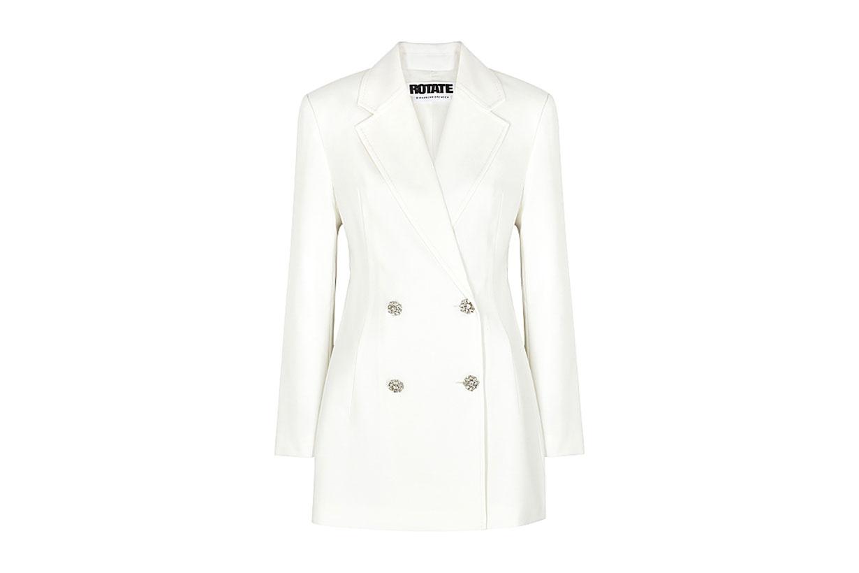 ROTATE BIRGER CHRISTENSEN Fonda white twill mini blazer dress