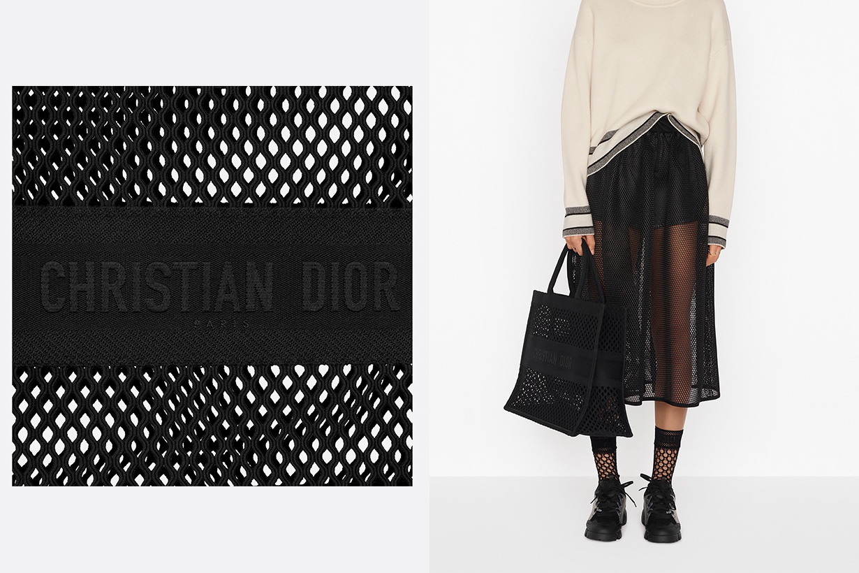 Dior book tote Black Mesh Embroidery handbags 2020
