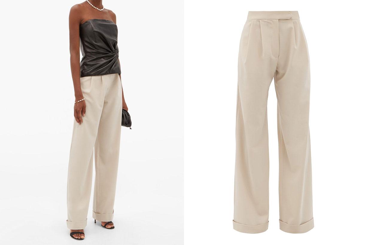 Sakura wide-leg crepe trousers