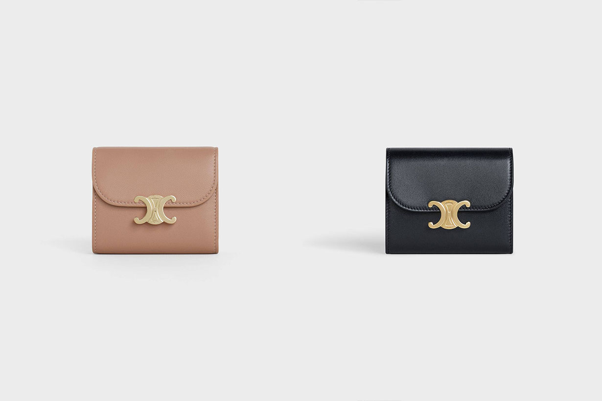 celine small triomphe wallet in shiny smooth lambskin 2020