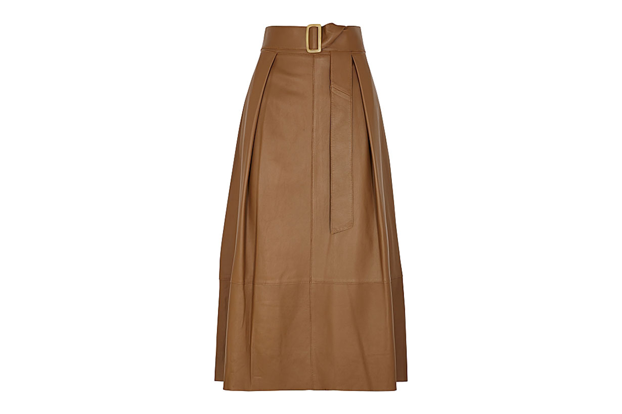 VINCE  Brown belted leather midi skirt