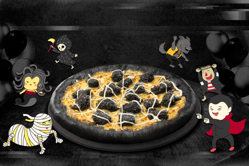 Pizza Hut Black Pizza Halloween