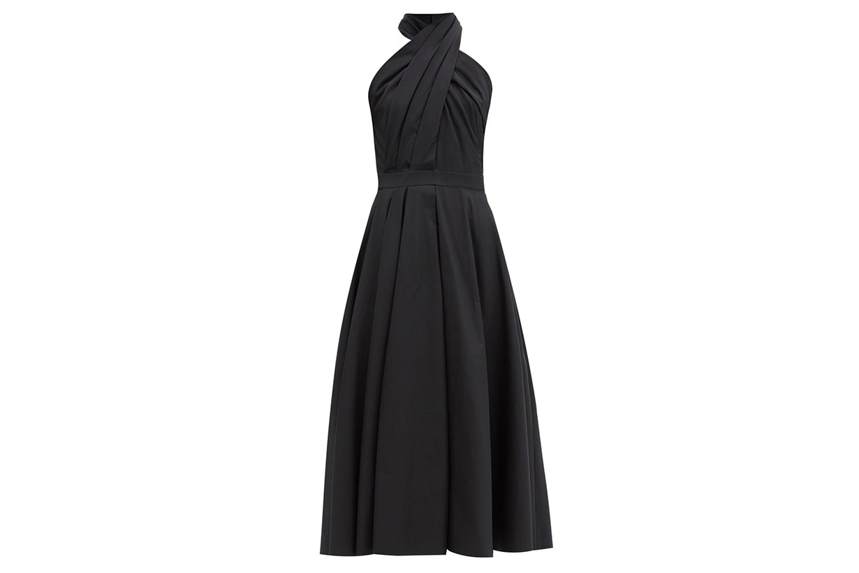 ALEXANDER MCQUEEN Halterneck pleated cotton-poplin midi dress
