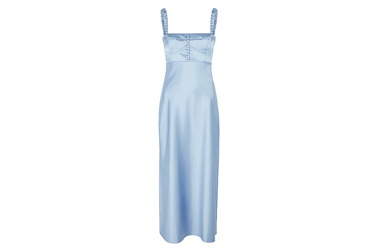 ANNA OCTOBER  Angela blue satin midi dres