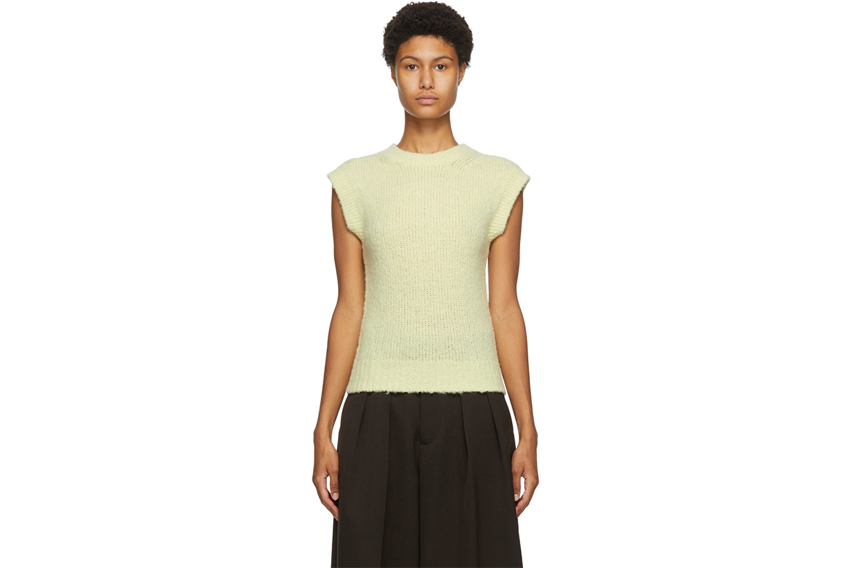 AURALEE Yellow Alpaca Wool Knit Vest