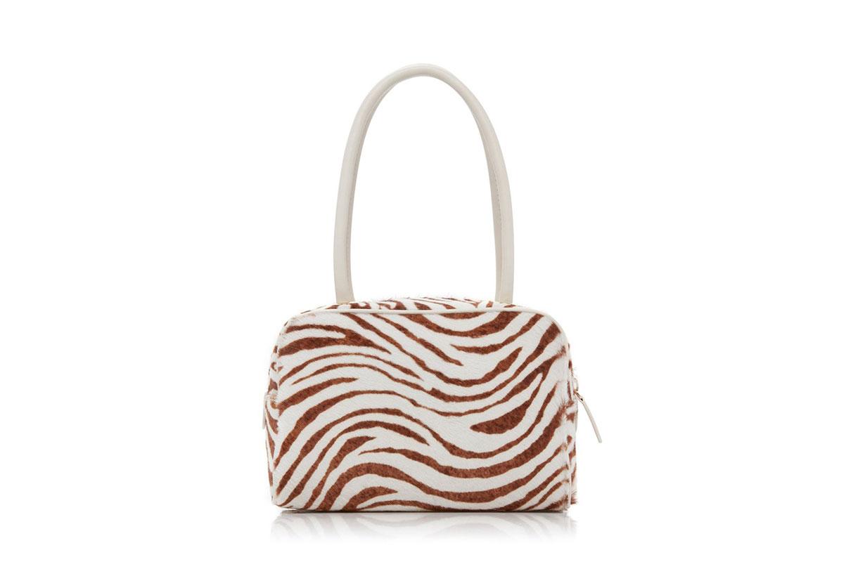 BY FAR Martin Zebra-Print Calf-Hair Leather Top Handle Bag