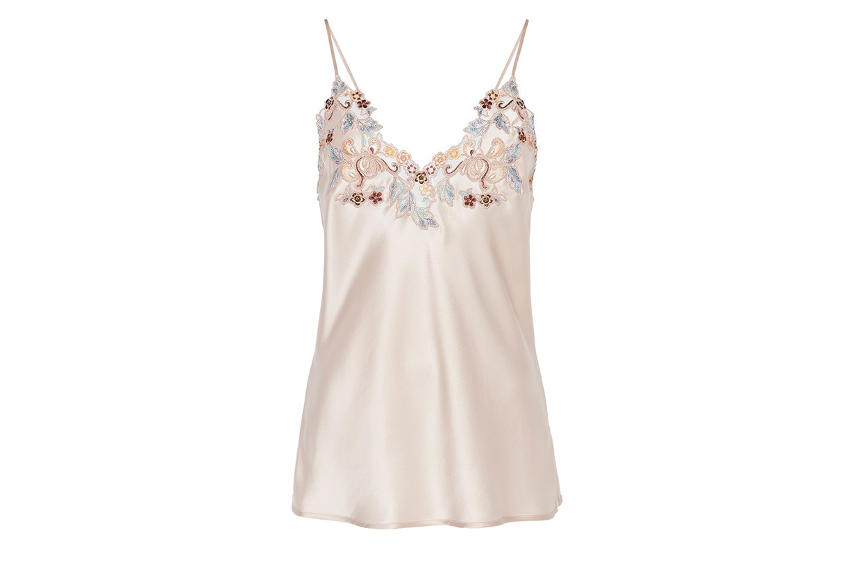 Camisole In Silk With Embroidered Tulle