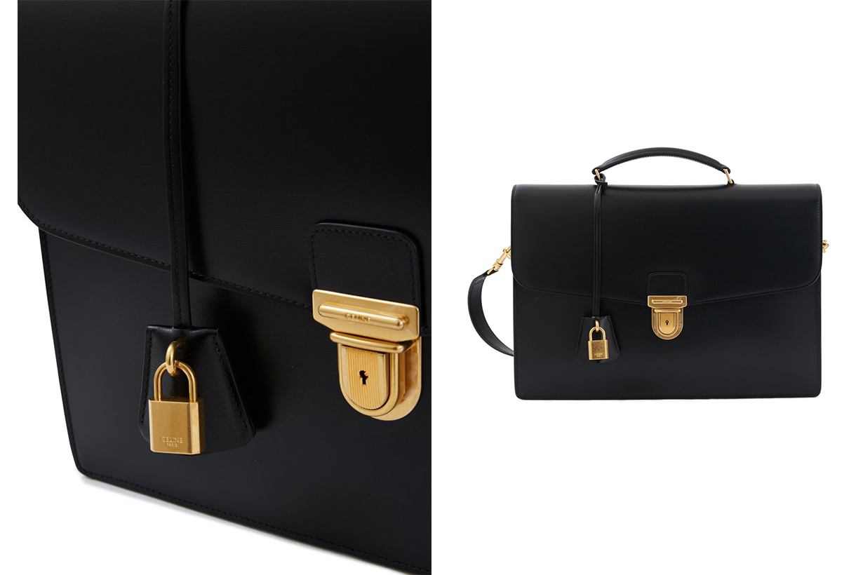 CELINE Medium-sized box calf satchel