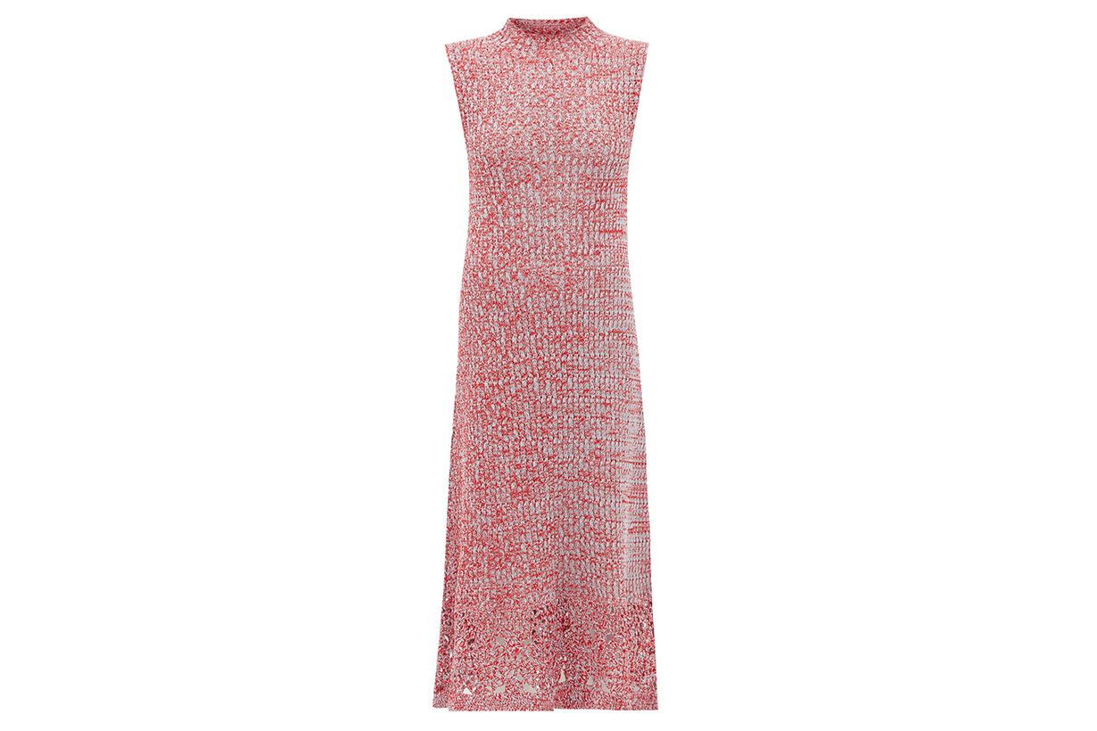 Jil Sander Crochet-hem knitted cotton-mouline dress