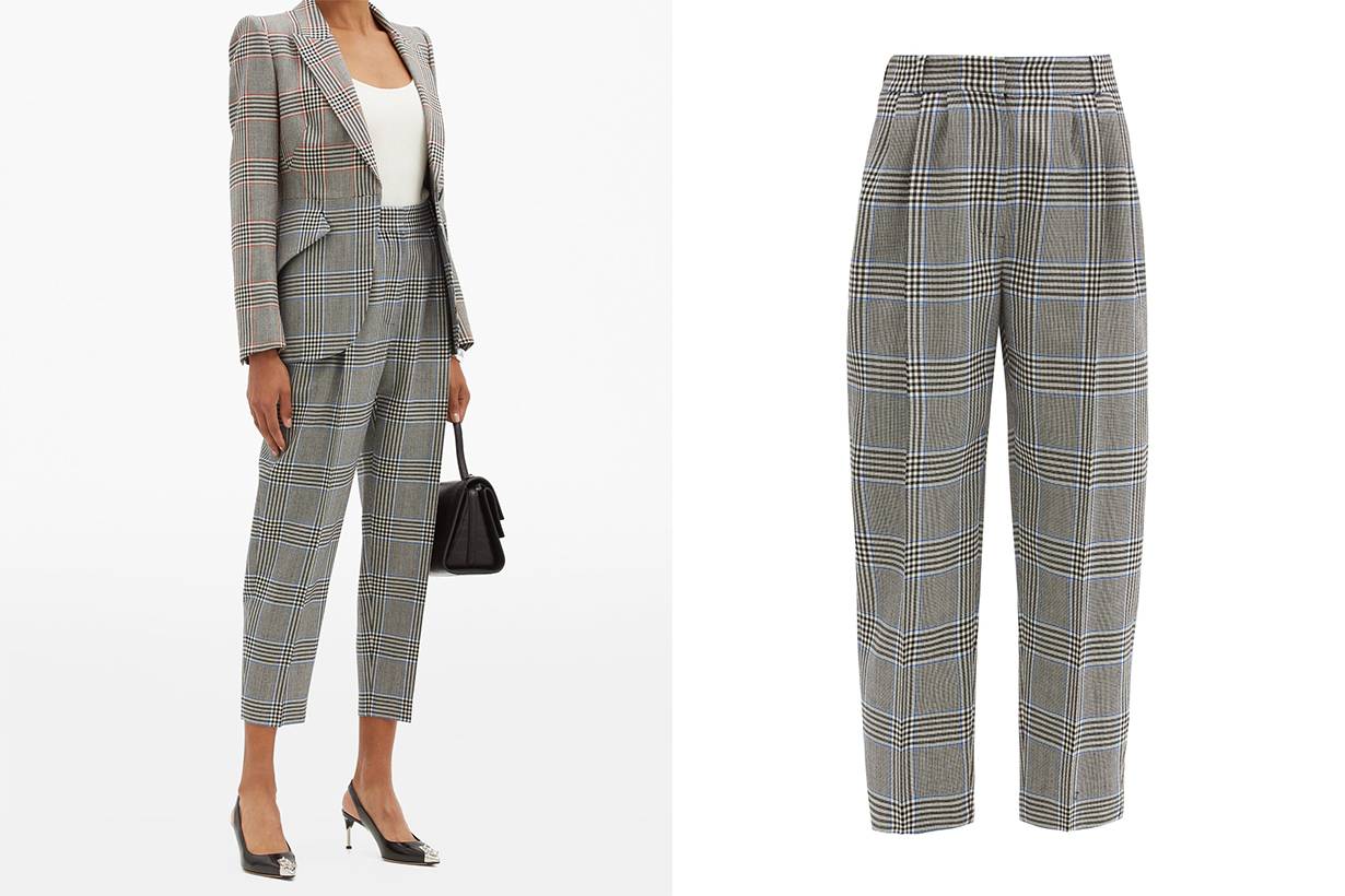 Cropped glen-check wool-twill suit trousers