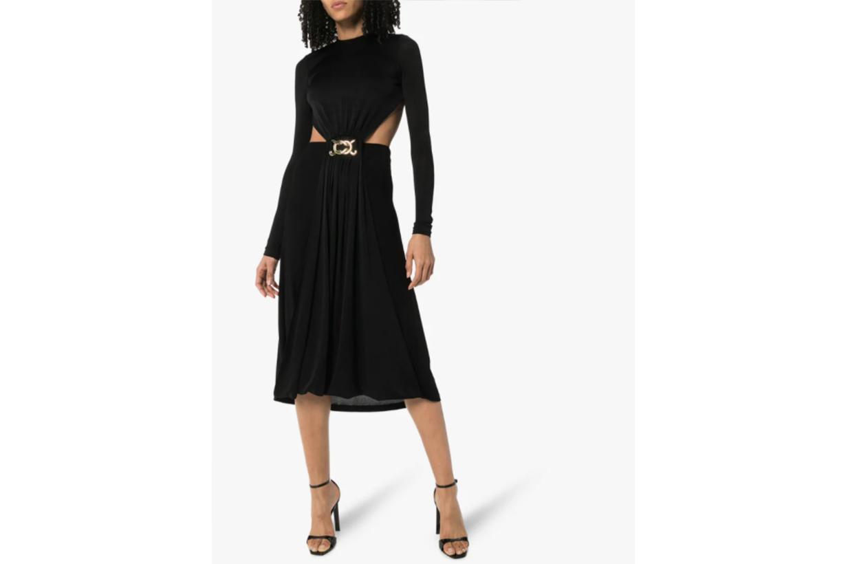 Cutout Detail Backless Midi Dress