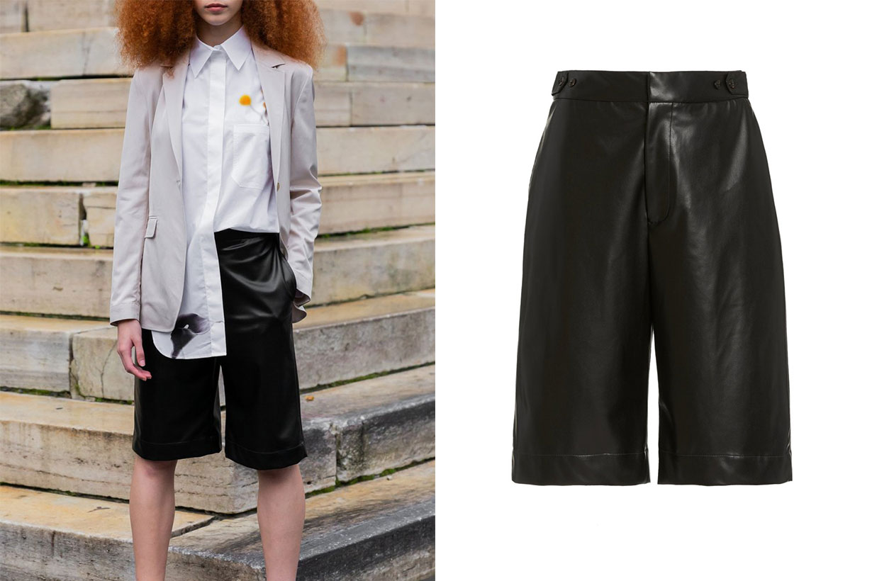 Deveaux Simone Vegan Leather Shorts