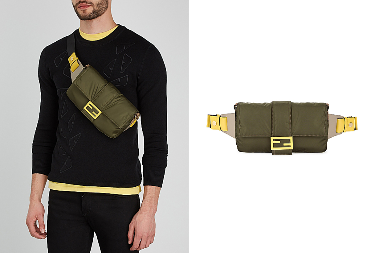 FENDI  Baguette army green nylon belt bag