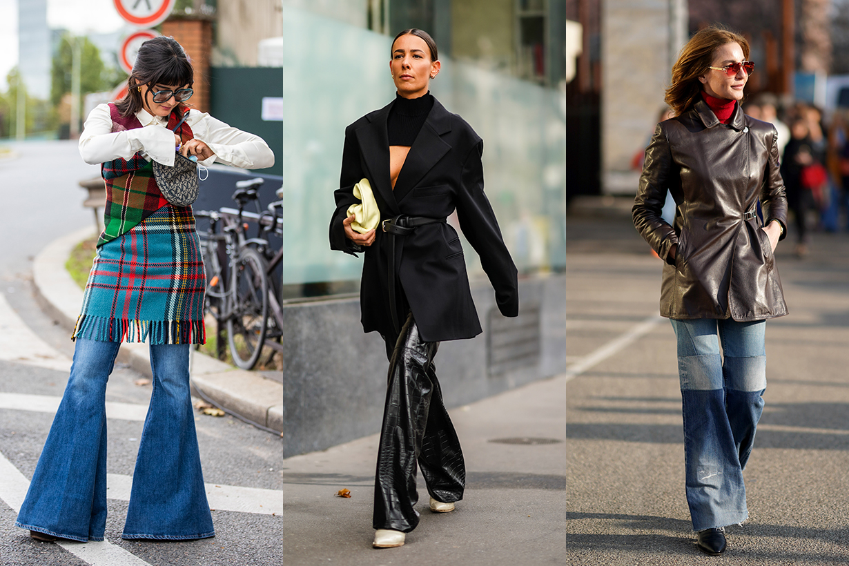 Maria Bernad seen wearing flared denim jeans, checkered dress, white button shirt, Dior bag outside Hermes during Paris Fashion Week - Womenswear Spring Summer 2021 : Day Six on October 03, 2020 in Paris, France.
