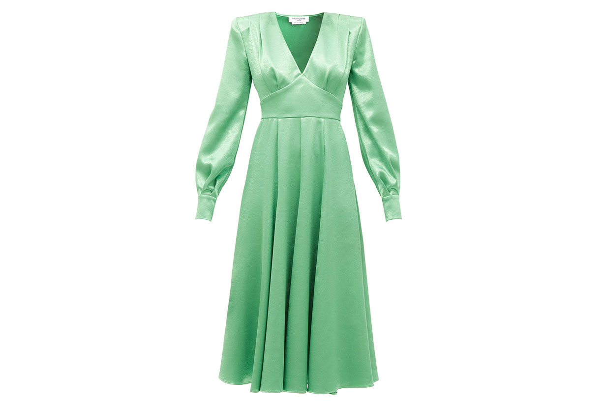 FRANÇOISE Padded-shoulder satin midi dress