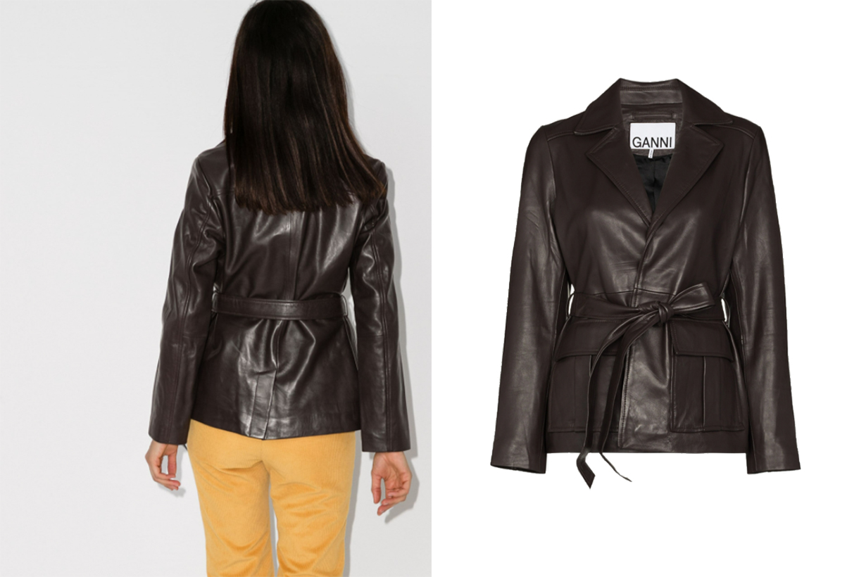 GANNI X Browns 50 Leather Wrap Jacket