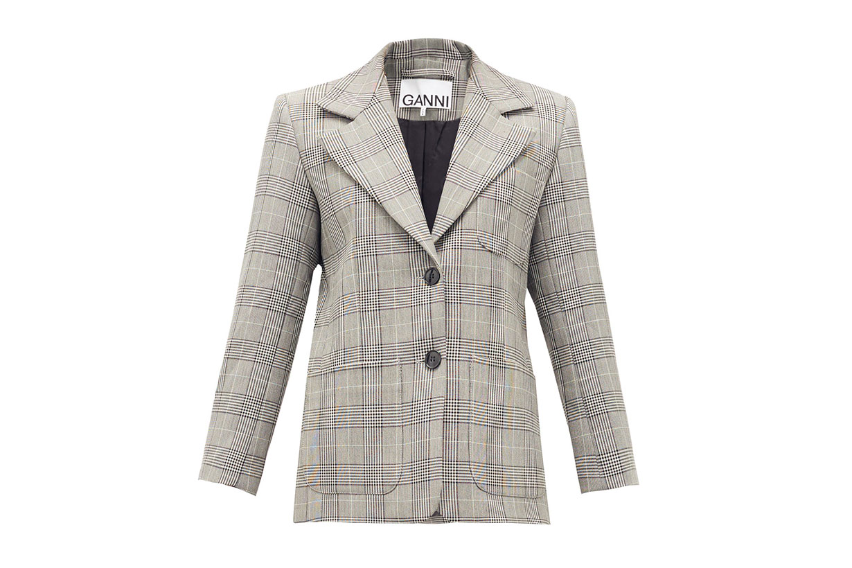 GANNI Single-breasted Prince of Wales-check blazer