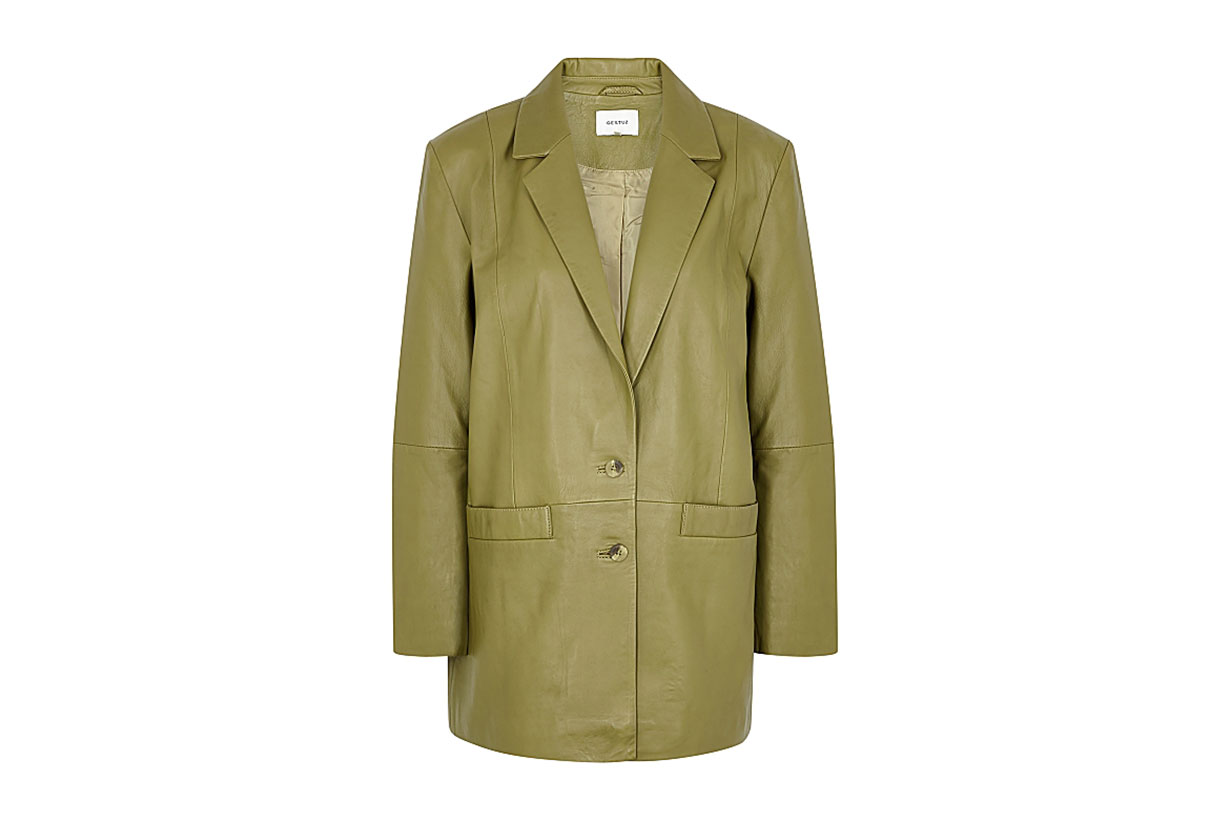 GESTUZ Naloa olive leather blazer