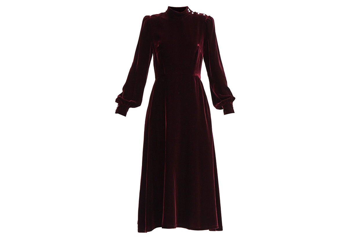 GOAT Khalo crystal-button velvet midi dress