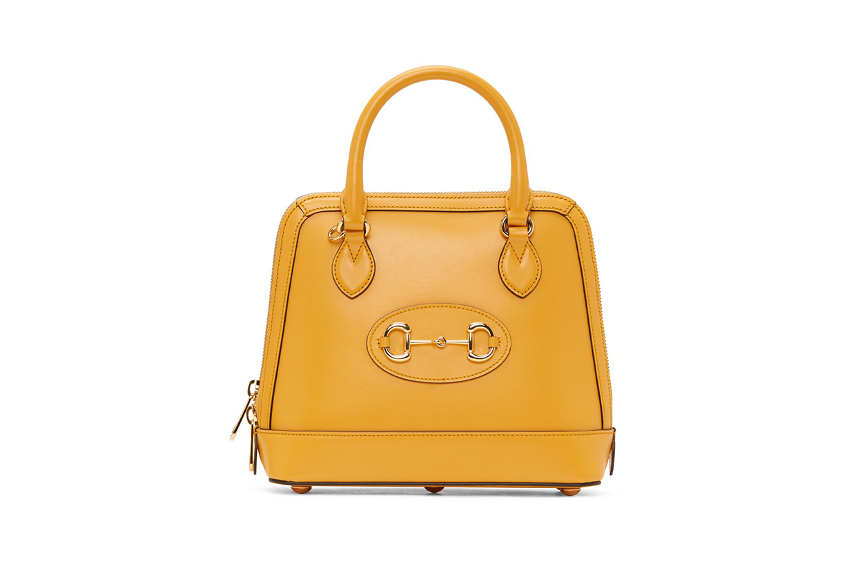 GUCCI Yellow 'Gucci 1955' Horsebit Top Handle Bag