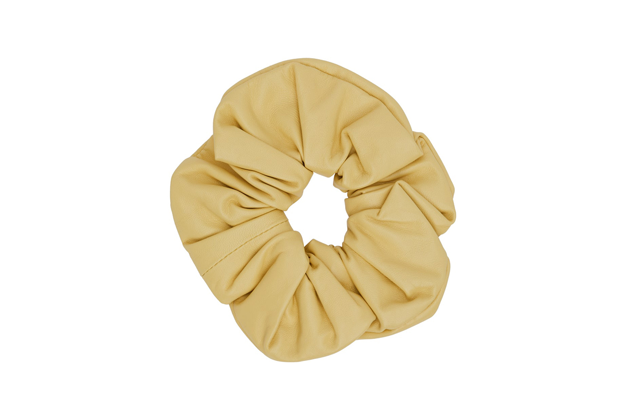 JIL SANDER Yellow Leather Big Scrunchie