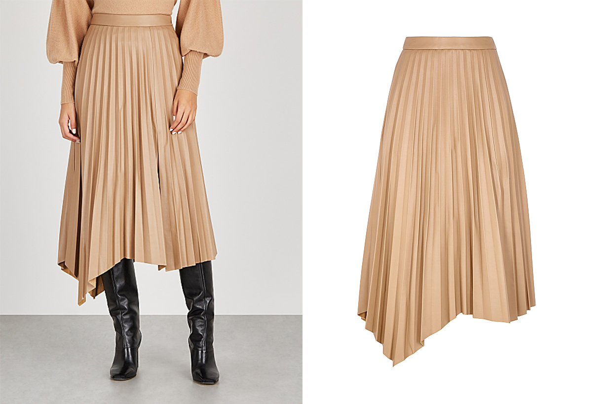 JONATHAN SIMKHAI  Jalya camel pleated faux leather midi skirt