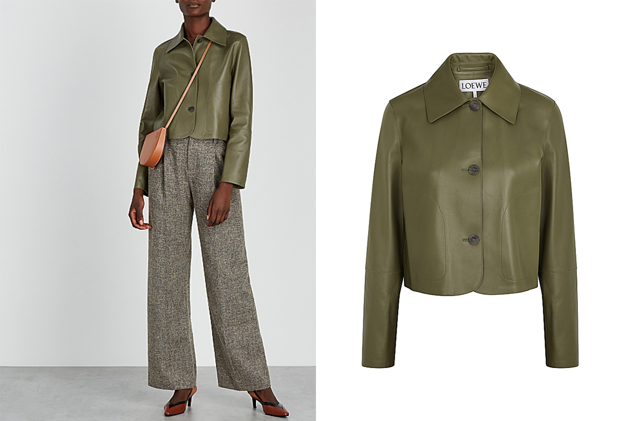 LOEWE  Olive leather jacket