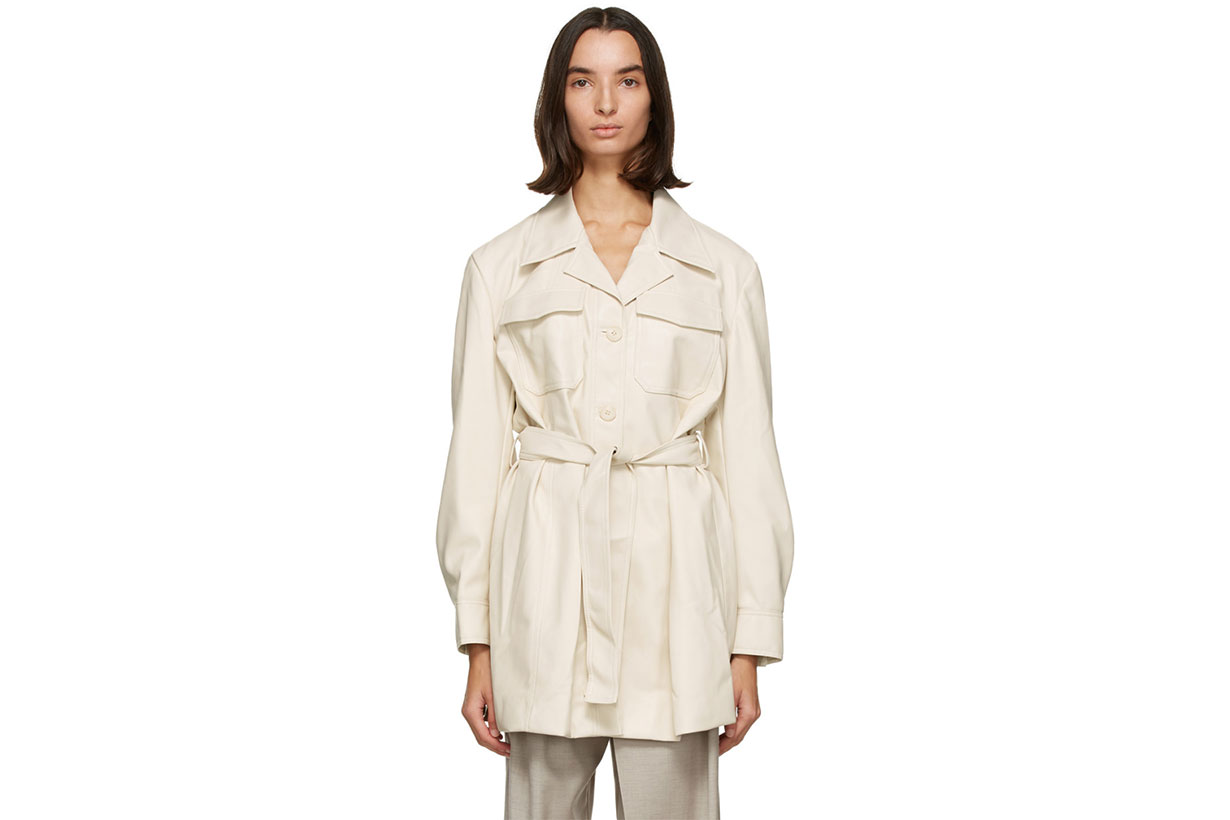 LOW CLASSIC Off-White Faux-Leather Belted Coat