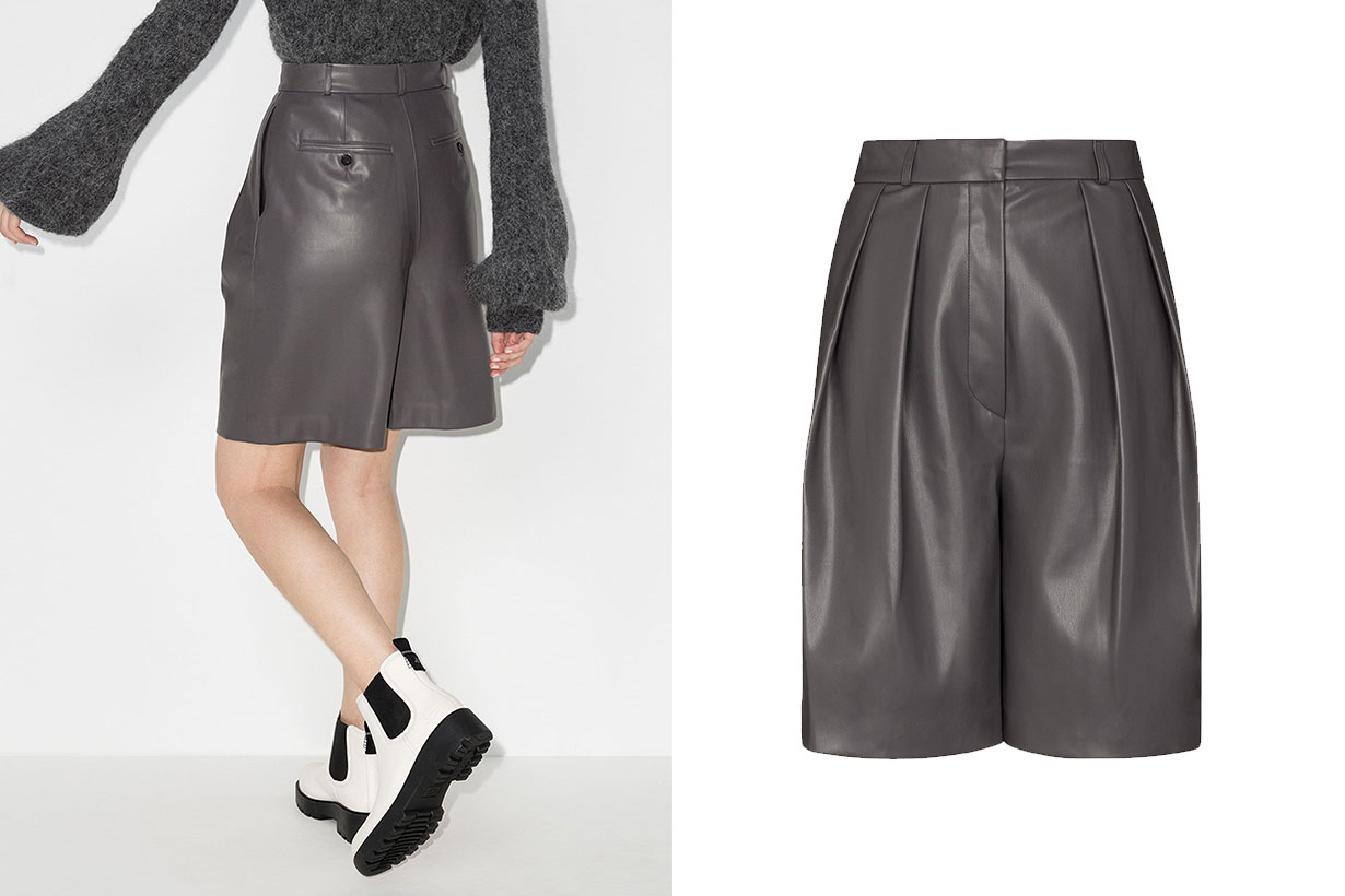LVIR Pleated Faux Leather Shorts