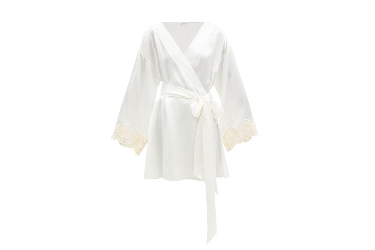 Maison embroidered silk-satin robe
