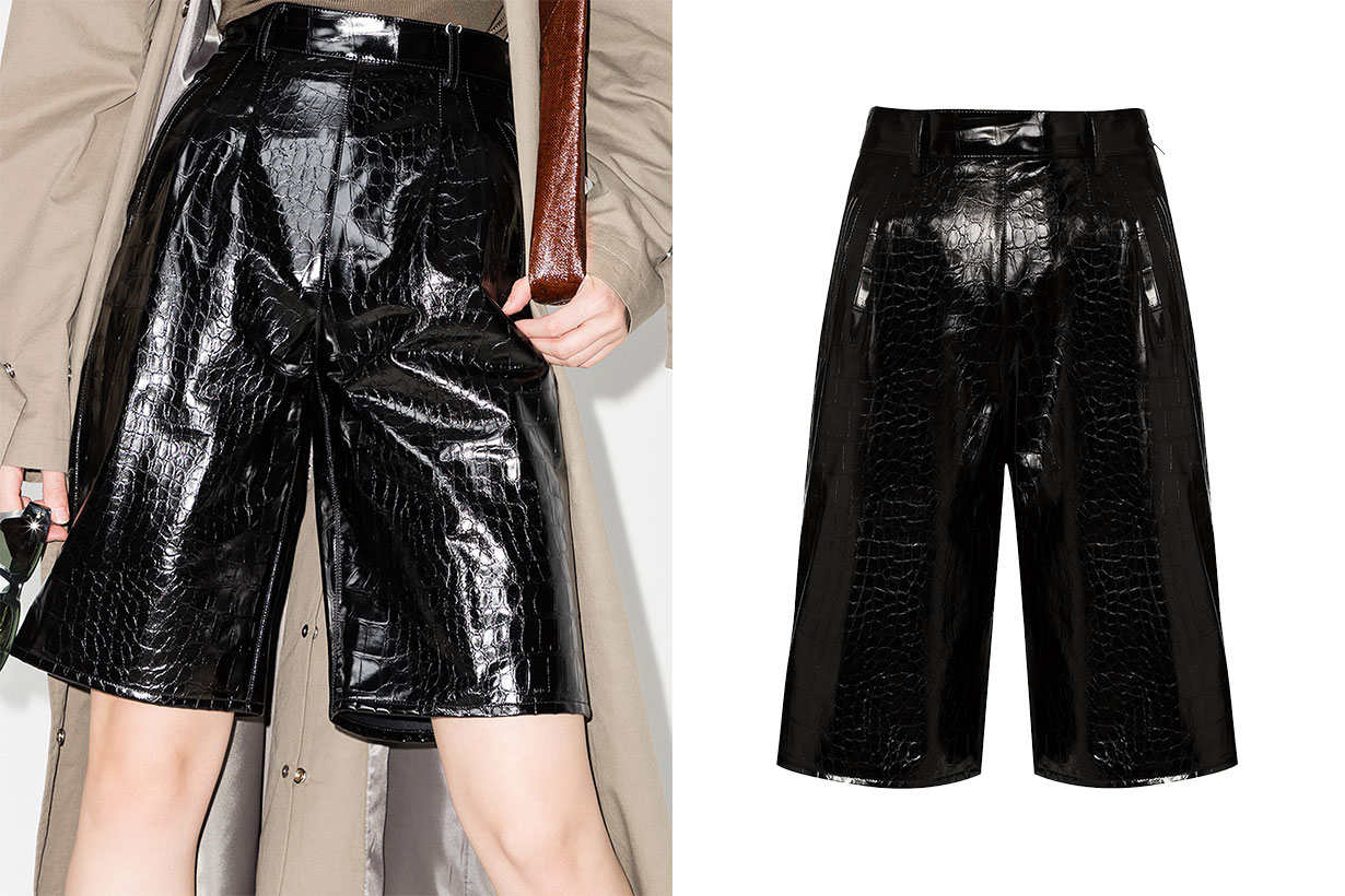 Maison Margiela Mock Croc Faux Leather Shorts