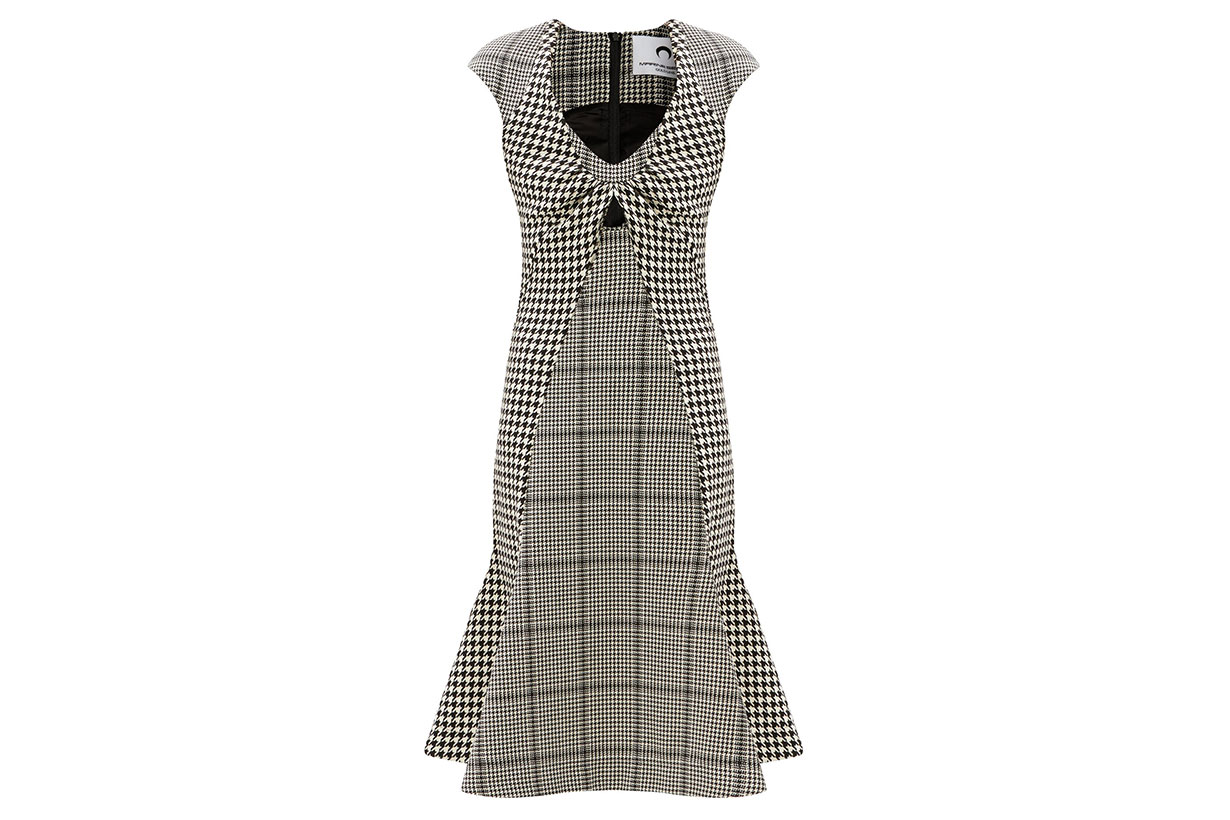 MARINE SERRE Panelled houndstooth wool midi dress