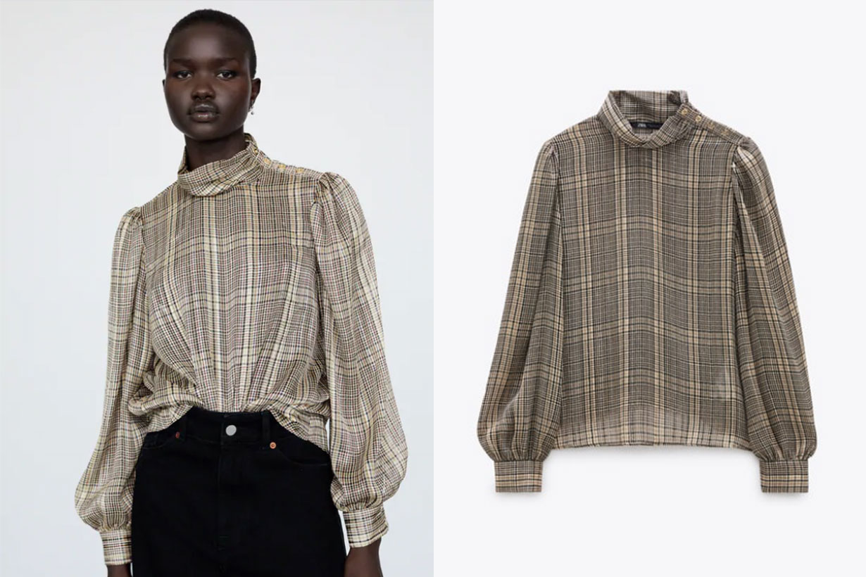 METALLIC THREAD CHECKED BLOUSE