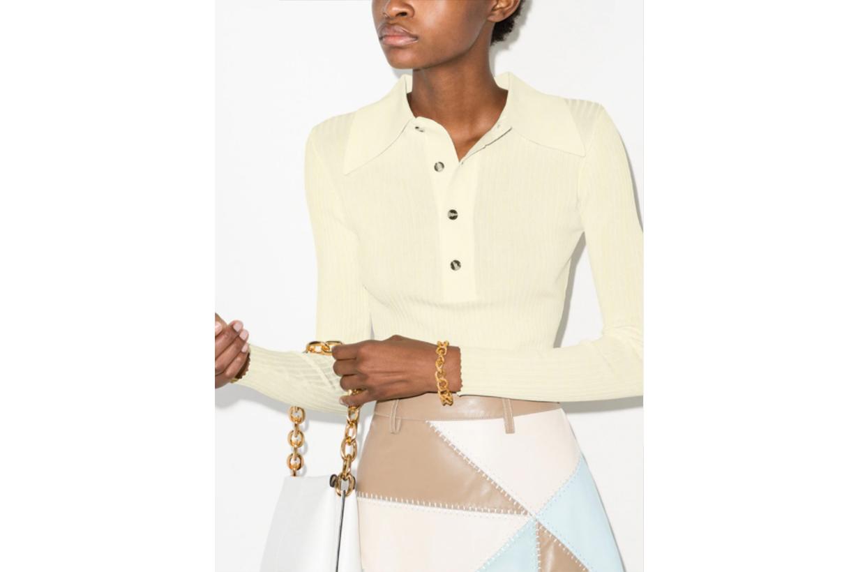 Monie Ribbed Knit Polo Shirt