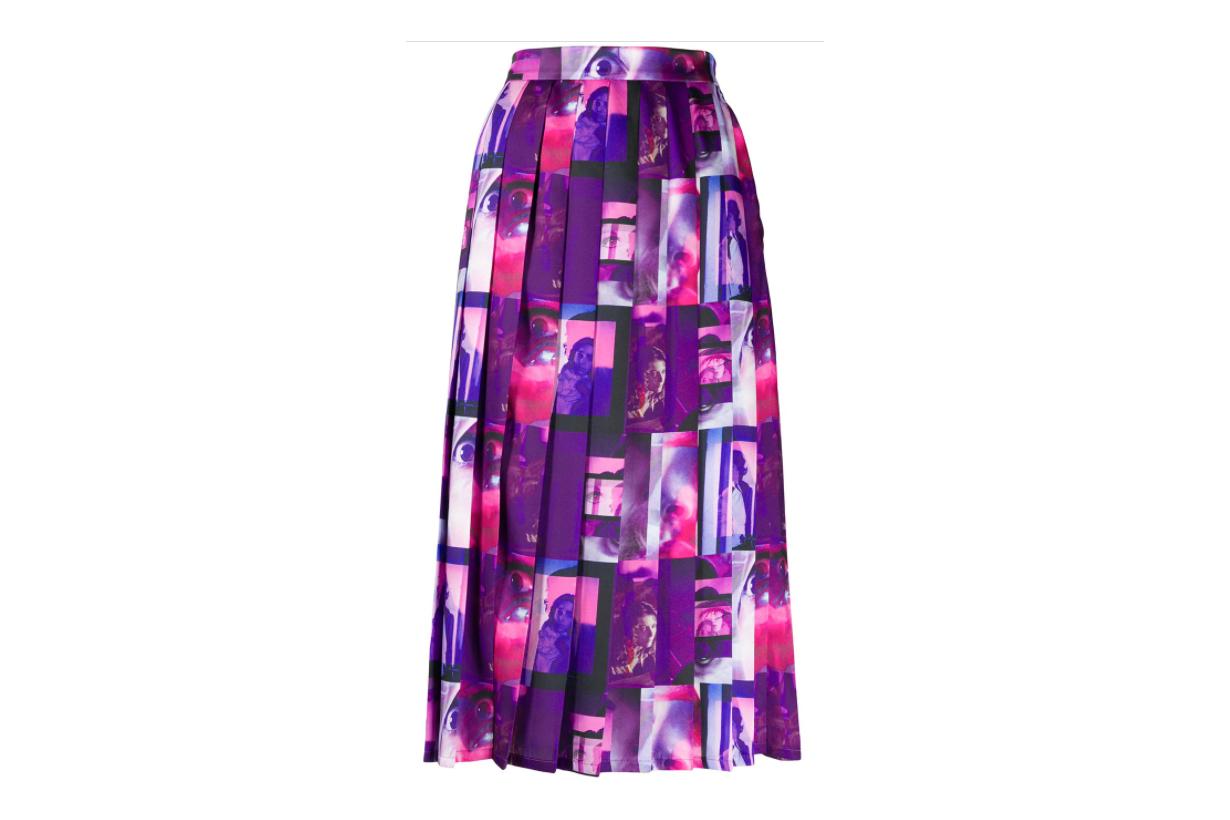 MSGM graphic-print pleated skirt